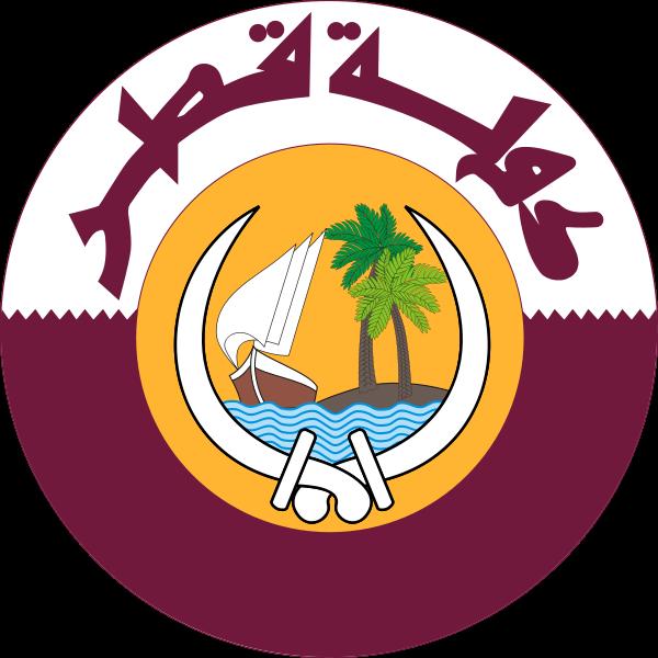 カタール国< 木材と国章、国旗の...