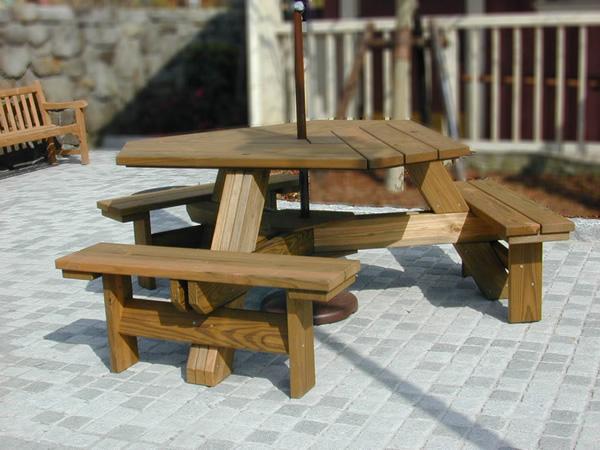 ウレタン塗装ガーデンテーブル・テーブルベンチ1体型